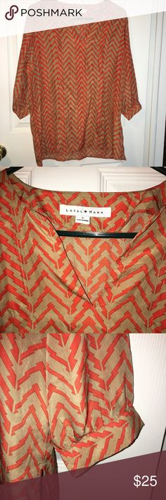 """Loyal Hana Tan Orange Print V-Neck 3/4 SleeveTop Nice cute blouse tunic style. Very good condition, no rips, no tears, no stains. Approximate measurements laying flat: Chest 21.5"""", sleeve length 18"""", overall length 27"""", side openings 13"""". *** I Post Pictures and approximate measurements for your reference only, please do your due diligence. My items are smoke and pet free but I can't guarantee odor free. If you are sensitive to perfumes, laundry products I would prevent you from buying this…"""