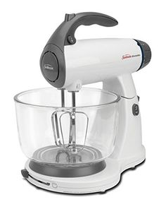 Sunbeam MixMaster Stand Mixer, White. 350 watts in addition to 12 speeds Soft hold handle Soft begin technology Tilt locking head with bowl selector switch Includes chrome blenders, whisks, mixture snares, and 2 glass bowls Sunbeam 2371 MixMaster Stand Mixer Much the same as having an additional arrangement of hands, best offer