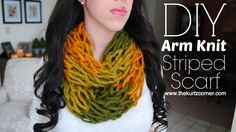 A step by step tutorial on how to create your own 30 minute arm knit infinity scarf using the super easy arm knitting technique. The perfect DIY Christmas gift!