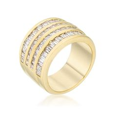 Kate Bissett 14k Gold Overlay Clear Cubic Zirconia Multi-row Ring | Overstock.com Shopping - The Best Deals on Cubic Zirconia Rings