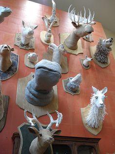 taxidermist style paper mache' of endangered animals