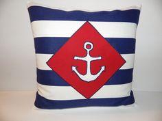18 x18 Nautical Pillow Cover, Red White Blue Pillow Cover, Anchor Pillow, Outdoor Pillow, Sailor Theme Pillow, Beach House Decor