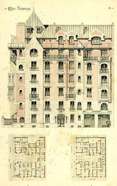 Elevation and floor plans of Guimard's Castel Beranger, Paris