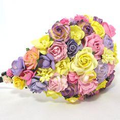 Headpiece i lavendel, pink og gul