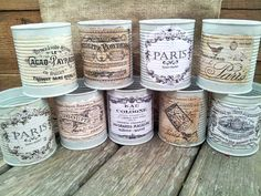 I like the decoupage of these labels as they match the idea of decorating peanut butter jars. I like the decoupage of these labels as they match the idea of decorating peanut butter jars. Decoupage Vintage, Vintage Decor, Vintage Diy, Decoupage Tins, Shabby Vintage, Tin Can Crafts, Diy And Crafts, Deco Podge, Tin Can Art