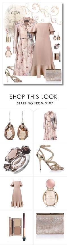 """""""Valentino Coat & Off-the-Shoulder Dress Look"""" by romaboots-1 ❤ liked on Polyvore featuring Alexis Bittar, Valentino, Jimmy Choo and Bulgari"""