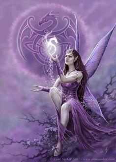 Fairy Sorceress summoning a Dragon