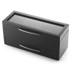 We have a gift designed for that special friend in your life who knows the value of timeliness and style. Complete with a pristine glass lid to engrave your sincere message of love or congratulations, this sleek watch box easily holds four watches in the top compartment and includes a pull out compartment underneath with ring rolls and an open area for more valuables.  https://www.thingsremembered.com/black-watch-box/product/742229?fcref=pinterest&beta=1