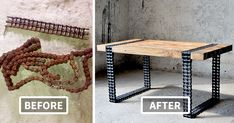 We Turned Old Wood And Rusty Chain Into A Coffee-Table | Bored Panda