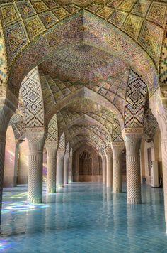 Nasir-ol-Mulk Mosque in the city of Shiraz, Iran, is famous for its kaleidoscopic colours.