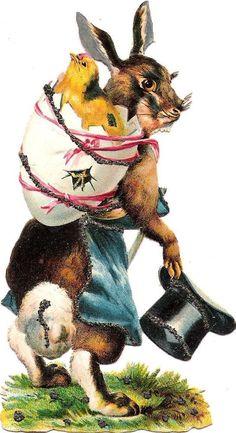 Oblaten Glanzbild scrap die cut  chromo Ostern easter Hase rabbit  Küken chick
