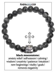 Gothic Punk Go Meditation Wellness Self-Care Yoga Bracelets. Mens Wristband Jewellery. Black Labradorite.