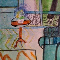 Matisse de table de chevet (c)AP/2012 aquarelle et crayons