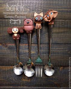 Купить Детский набор столовых приборов Гав, Винни Пух, Чебурашка, Мамонтенок - коричневый