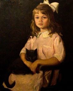 The Artist's Daughter With A Cat -- Lilla Cabot Perry (1848 – 1933, American)