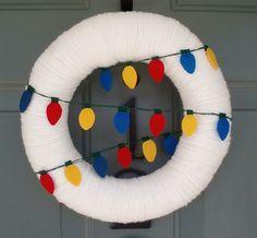 Yarn & Felt Christmas Light Wreath