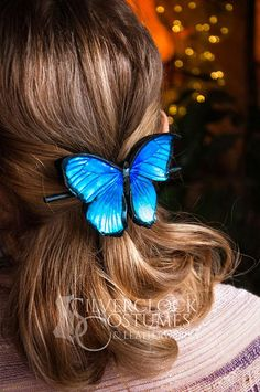 BLUE MORPHO BUTTERFLY hair clip butterfly jewelry hairpin  #bluemorpho #fashion #blue #bluebutterfly #morphobutterfly #leatherbutterfly #leatherwork #bluehair #butterfly #butterflytattoo #haircolor #hairclip #hairpin #blonde #silverclock #silverclockcostume #sc #bluemonarch