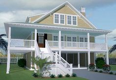 Plan 15056NC  This elevated home is great for the beach. And has an elevator serving ground to second floors!