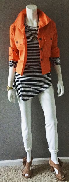 cabi spring '16 Slimmie Jean, Boat Stripe Tee, Resort Jacket & Helios Cuff with stacked sandals. #fallintospring #boatstripetee #cabiclothing