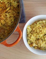 Arros de Baetjo (Bomba Rice with Salt Cod, Cauliflower and Scallions)