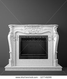 classic marble fireplace standing against dark gray wall