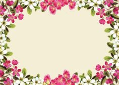 pink floral borders | free digital flower frame png and flower frame journaling card ...