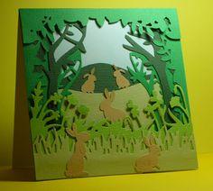Xcut Woodland Shadow Box dies. Xcut English Countryside Borders dies. Joanna Sheen rabbit dies
