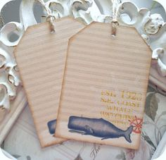 Nautical Whale Tags  Set of 6  Cottage by LittlePaperFarmhouse, $5.95