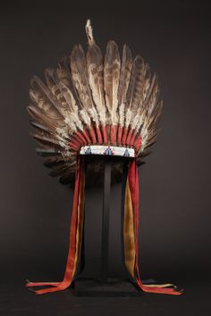 Warrior's Headdress / Plains Indians or Great Basin, USA. Eagle feathers, fabric and beads. Native American Headdress, Native American Clothing, Native American Beauty, Native American Photos, Native American Artifacts, American Indian Art, Native American History, Native American Indians, Plains Indians