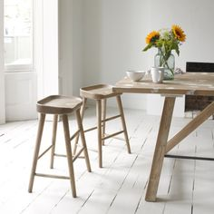 BUMBLE STOOLS Perfect for all you kitchen or office loiterers out there! We know who you are: you can run but you can't hide. This solid oak stool is given a good sand-blasting for a lived-in feel. Sold in pairs.