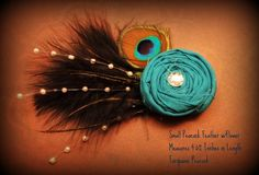 Blue Flower Peacock Feather Hair Clips by stylesbym on Etsy, $12.00