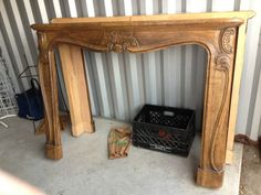 ITALIAN WOOD FIREPLACE MANTLE ORNATE CARVINGS DETAILED