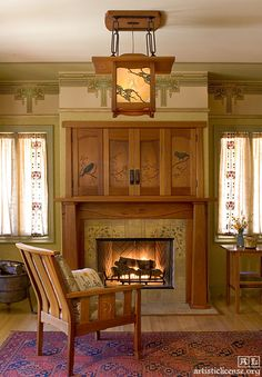 Debey Zito Fine Furniture and Design. Voysey Mantel, Flat Screen Doors and Lantern. Debey designed and built this surround, Terry Schmitt's carving, Audel Davis' metalwork, Ted Ellison's art glass, Dianne Ayres' textiles, Paul Duchscherer's wallpaper design, Bradbury and Bradbury paper. Photo: Nathanael Bennett.
