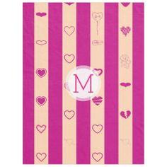 Monogram Royal Fuchsia Stripe Modern Heart Pattern Fleece Blanket - stripes gifts cyo unique style