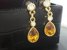 Fabulous Faceted Faux Amber and Clear Diamante Crystal Drop Earrings Crystal Drop, Treasure Chest, Amber, Campaign, Content, Drop Earrings, Crystals, Medium, Metal