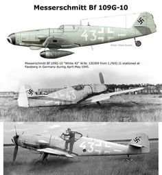 "Messerschmitt Bf 109G-10 ""White 43"" WNr130369 1./NJG 11 1945.Finished in an overall light blue-grey 76 Hellblau ""White 43"" wears a colour scheme that was typical for the 'Mosquito hunters' of 5./NJG 11 during 1945."