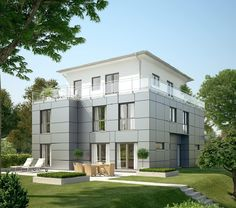Exklusiv 349 - Bien Zenker - http://www.hausbaudirekt.de/haus/exklusiv-349/ - Fertighaus als Einfamilienhaus Luxushaus Modernes Haus Stadtvilla mit Walmdach