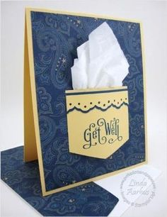 handmade Get Well card ... pocket with real kleenex ... luv the blue paisley background paper ... Stampin' Up! by candykaner