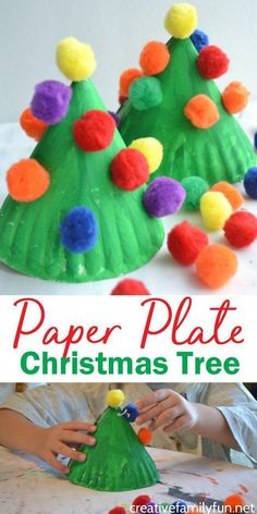 Make this fun and colorful Paper Plate Christmas Tree craft for kids or make several for a perfect kid-made Christmas decoration. #Christmas #kidscraft #CreativeFamilyFun #christmasideasforkids