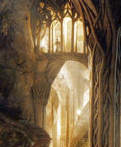 """Elvenking's Halls concept art. """" This great cave, from which countless smaller ones opened out on every side, wound far underground and had many passages and wide halls; but it was lighter and more wholesome than any goblin-dwelling, and neither so deep nor so dangerous. """""""