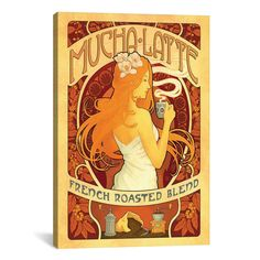 iCanvasART Anderson Design Group COF Mucha Latte Canvas Print Wall Art - Overstock™ Shopping - Top Rated Canvas