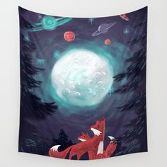 Clever Fox's Tales about the Universe Wall Tapestry. Tapestry Bedroom, Wall Tapestries, Hand Sewn, Vivid Colors, Crisp, Clever, Fox, Universe