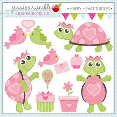 Happy Heart Turtles Cute Digital Clipart for Commercial or Personal Use, Valentine Clipart, Cute Turtle Graphics via Etsy