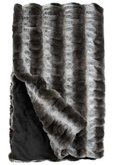Grey Chinchilla Couture Faux Fur Throw Blankets