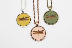 Dragonfly Pendant Design - Laser Engraved Wooden Cameo Necklace (Any Color - Custom Made) - Made in the USA