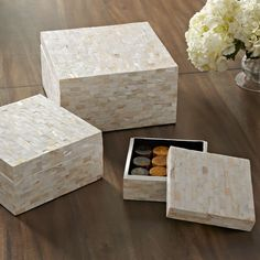 Caspian Storage Boxes | Adding subtle shine, the Caspian boxes are both durable and stylish, with a mother-of-pearl finish. Set includes three lidded boxes sized to store jewelry, accessories and small keepsakes.