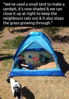 idea for kids' sandpits. Use an old tent to create a sandbox that you can keep clean and shaded.Use an old tent to create a sandbox that you can keep clean and shaded. Kids And Parenting, Parenting Hacks, Peaceful Parenting, Parenting Quotes, Diy For Kids, Cool Kids, Kids Tents, Future Mom, Baby Hacks