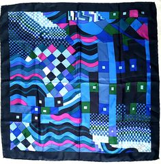"Vintage 60's LIBERTY LONDON Susan Collier & Sarah Campbell ""Bauhaus"" Modernist Print Fine Silk Large Scarf in Indigo, Blue, Mauve and Green"