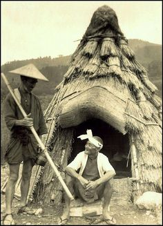 """THE OLD FARMER AND HIS """"MAN CAVE"""" IN THE COUNTRY -- A Nice Little Hut Where He Can Escape from the Wife in OLD JAPAN by Okinawa Soba, via Flickr"""