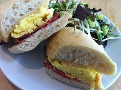 Ham, Egg Ciabatta, side salad